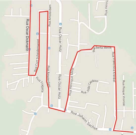 Mapa itinerário do ônibus Rua Bertha Mete