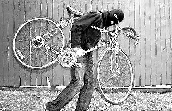 Roubo bicicleta ilustração