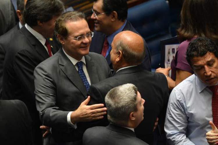 Renan Calheiros (PMDB/AL) é eleito para o segundo mandato a frente do Senado. Foto: Antônio Cruz / Agência Brasil