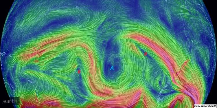 Figura: Imagem da animação do fluxo de vento no nível de 500hPa do modelo GFS