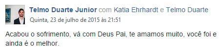 A mensagem de seu filho nas redes sociais, comunicando a morte de Telmo Duarte