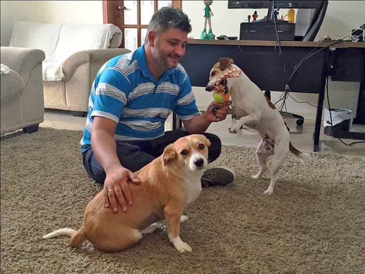 Frida e a Kiara, as cachorras de Armando Leite Júnior, fazem parte da equipe da Trezo.