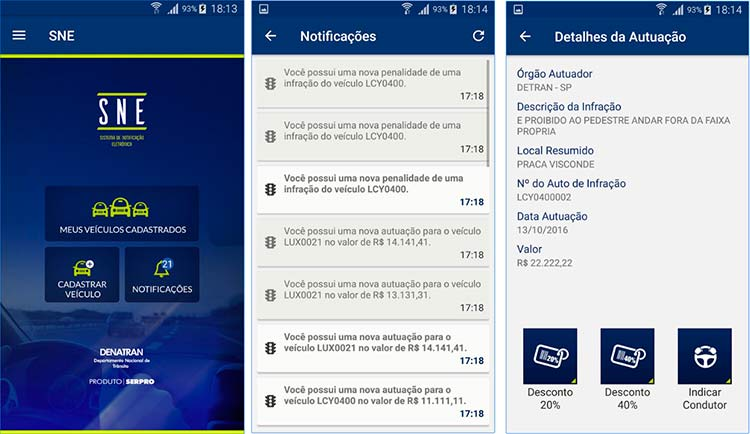 O aplicativo Sistema de Notificação Eletrônica (SNE), do Denatran, vai baratear a notificação de multasDivulgação/Serpro