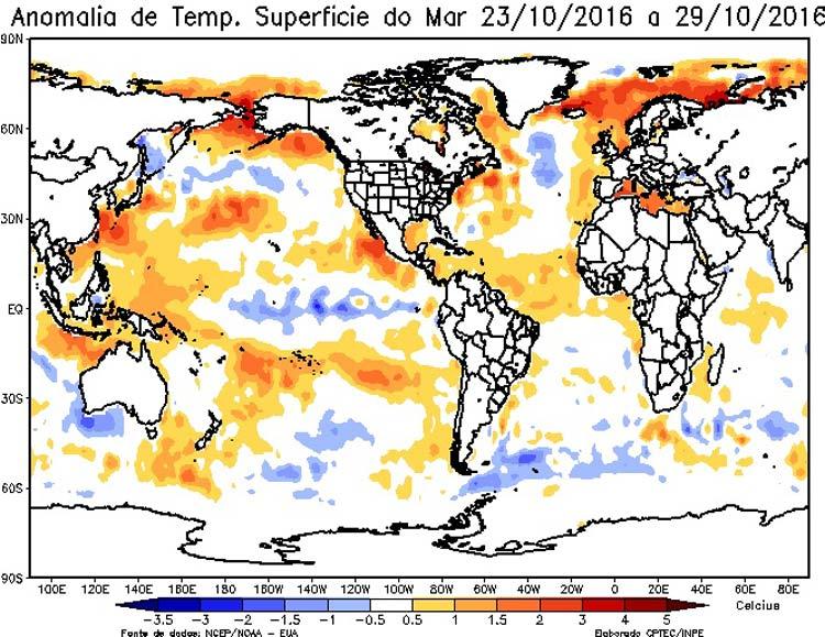 Figura 2 - Anomalia da TSM no oceano Atlântico e Pacifico entre 23/10 e 29/10/2016. A Epagri/Ciram recomenda o permanente acompanhamento dos boletins e informações disponibilizados neste site.