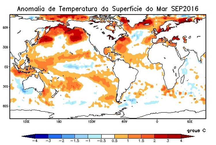 Figura 1 - Anomalia da TSM nos oceanos Atlântico e Pacifico, em setembro de 2016.
